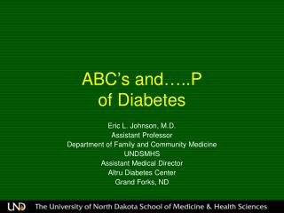 ABC's and…..P  of Diabetes