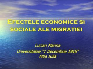 Efectele economice si sociale ale migratiei