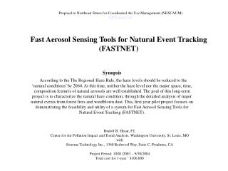 Fast Aerosol Sensing Tools for Natural Event Tracking (FASTNET)
