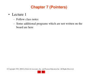 Chapter 7 (Pointers)
