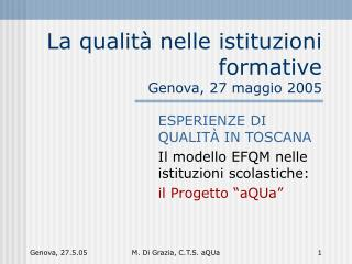 La qualit� nelle istituzioni formative  Genova, 27 maggio 2005