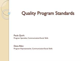 Quality Program Standards