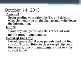 October  14, 2013