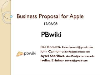 Business Proposal for Apple