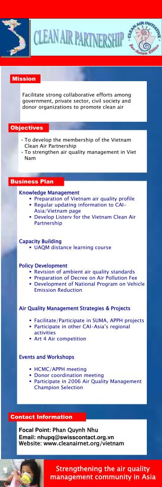 To develop the membership of the Vietnam Clean Air Partnership