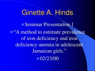 Ginette A. Hinds
