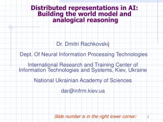 Distributed representations in AI: Building the world model and  analogical reasoning