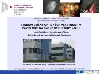 Západočeská univerzita v Plzni ,  Česká republika Výzkumné centrum Nové technologie