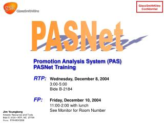 Promotion Analysis System (PAS) PASNet Training