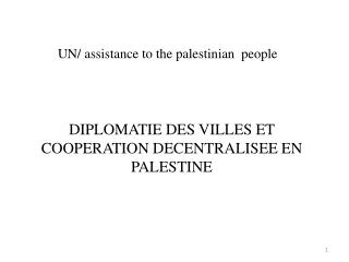 UN/ assistance to the palestinian  people