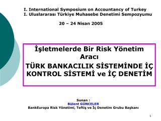 İşletmelerde Bir Risk Yönetim Aracı TÜRK BANKACILIK SİSTEMİNDE İÇ KONTROL SİSTEMİ ve İÇ DENETİM