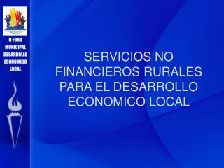 SERVICIOS NO FINANCIEROS RURALES PARA EL DESARROLLO ECONOMICO LOCAL