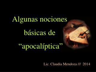 """Algunas nociones  básicas de   """"apocalíptica"""""""