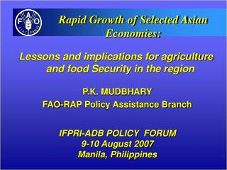 Lessons and implications for agriculture and food Security in the region