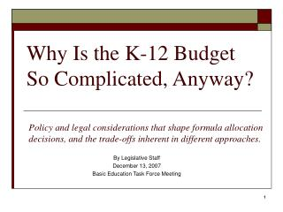 Why Is the K-12 Budget So Complicated, Anyway?