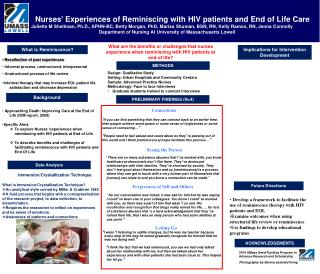 Nurses '  Experiences of Reminiscing with HIV patients and End of Life Care