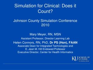 Mary Meyer, RN, MSN Assistant Professor, Director Learning Lab
