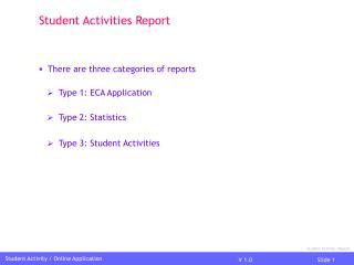 Student Activity /Report
