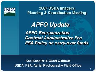 2007 USDA Imagery Planning & Coordination Meeting