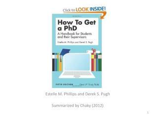 Estelle  M. Phillips and Derek S.  Pugh Summarized by Chaky (2012)