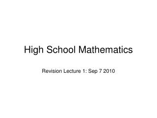 High School Mathematics