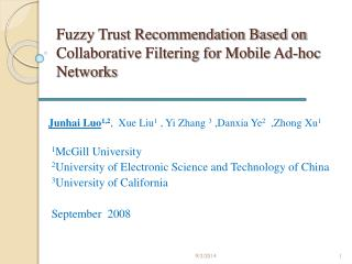 Fuzzy Trust Recommendation Based on Collaborative Filtering for Mobile Ad-hoc Networks