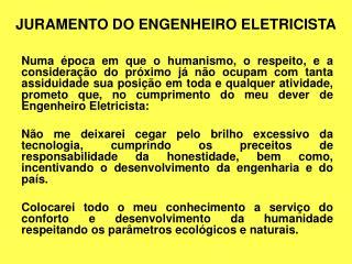 JURAMENTO DO ENGENHEIRO ELETRICISTA