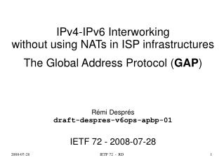 IPv4-IPv6 Interworking without using NATs in ISP infrastructures