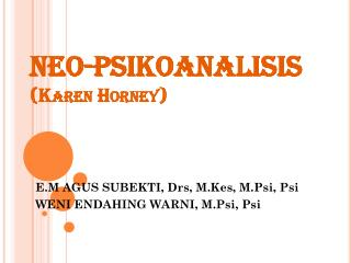 NEO-PSIKOANALISIS (Karen Horney)