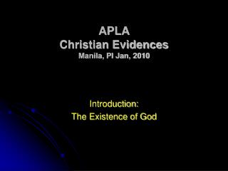 APLA Christian Evidences Manila, PI Jan, 2010