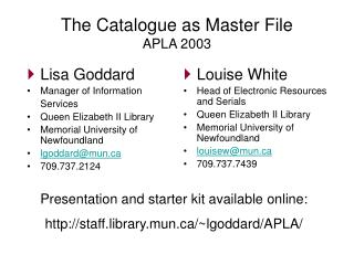 The Catalogue as Master File APLA 2003