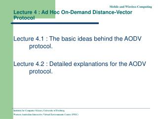 Lecture 4 : Ad Hoc On-Demand Distance-Vector Protocol