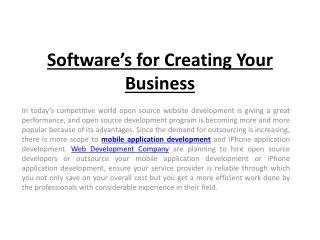 Software�s for Creating Your Business