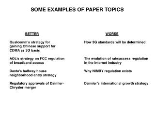 SOME EXAMPLES OF PAPER TOPICS