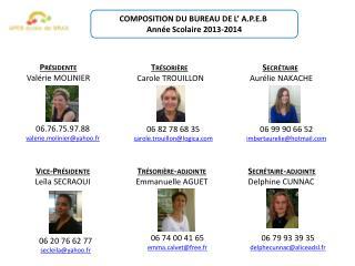 COMPOSITION DU BUREAU DE  L ' A.P.E.B Année Scolaire  2013-2014