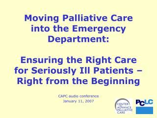 CAPC audio conference January 11, 2007
