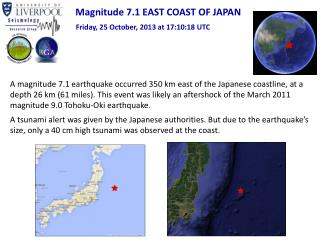 Magnitude 7.1 EAST COAST OF JAPAN