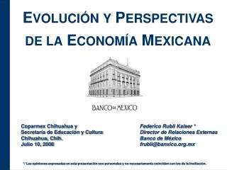 EVOLUCI N Y PERSPECTIVAS DE LA ECONOM A MEXICANA