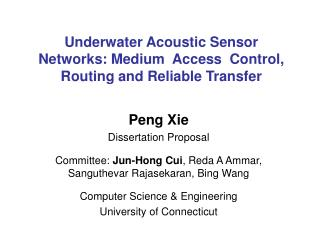 Underwater Acoustic Sensor Networks: Medium  Access  Control, Routing and Reliable Transfer