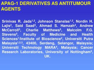 APAG-1 DERIVATIVES AS ANTITUMOUR  AGENTS