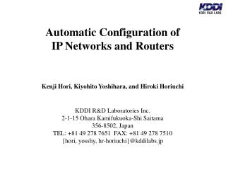 Automatic Configuration of  IP Networks and Routers