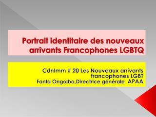 Portrait identitaire des nouveaux arrivants Francophones LGBTQ