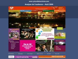 picardietourisme Analyse de l'audience – Août 2009