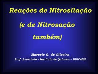 Reações de Nitrosilação Marcelo G. de Oliveira Prof. Associado – Instituto de Química – UNICAMP