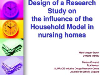 Design of a  Research  Study on the influence  of the Household  Model in nursing homes