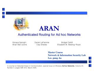 ARAN Authenticated Routing for Ad hoc Networks