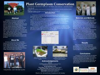 Plant Germplasm Conservation