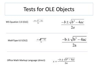 Tests for OLE Objects