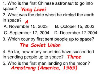 1. Who is the first Chinese astronaut to go into space?