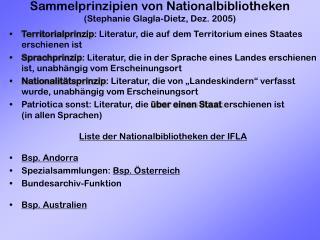 Sammelprinzipien von Nationalbibliotheken (Stephanie Glagla-Dietz, Dez. 2005)